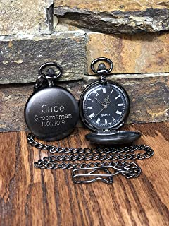 1660276cb Personalized Gunmetal Pocket Watch Custom with Monogram Engraved - Gifts  for Men- Best man -