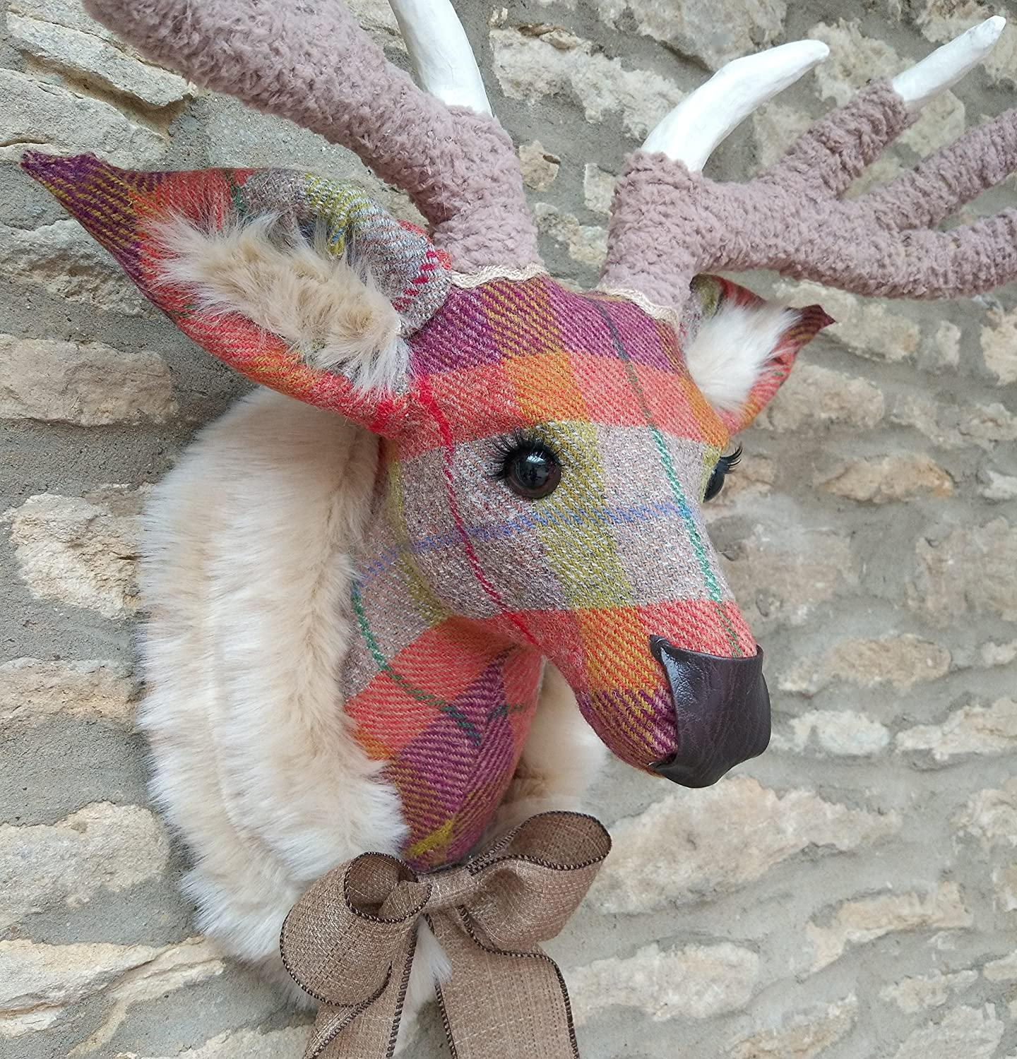 Amazon com: Handmade faux taxidermy Harris Tweed multi check