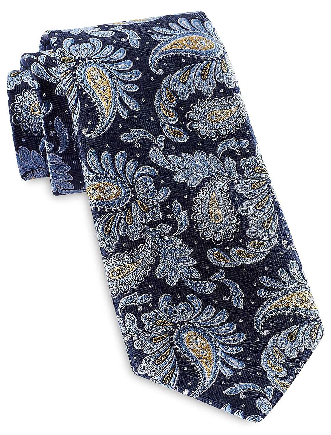Rochester by DXL Big and Tall Designed in Italy Textured Leaf Paisley Silk Tie
