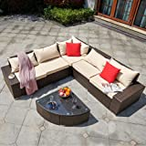 YITAHOME 6 Pieces Patio Furniture Set, Outdoor Sectional Sofa PE Rattan Wicker Conversation Set with Table and Cushions for P