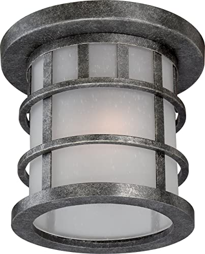 Nuvo Lighting 60 5636 Manor Industrial Flush 1-Light 60-watt A19 Outdoor Close To Ceiling Porch and Patio Lighting Frosted Seed Glass, Aged Silver