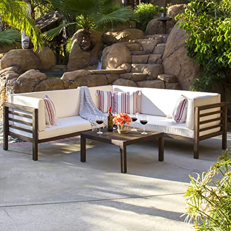 Amazing Best Choice Products Outdoor Patio Furniture 4 Piece Acacia Wood Sectional  Sofa Set Water Resistant
