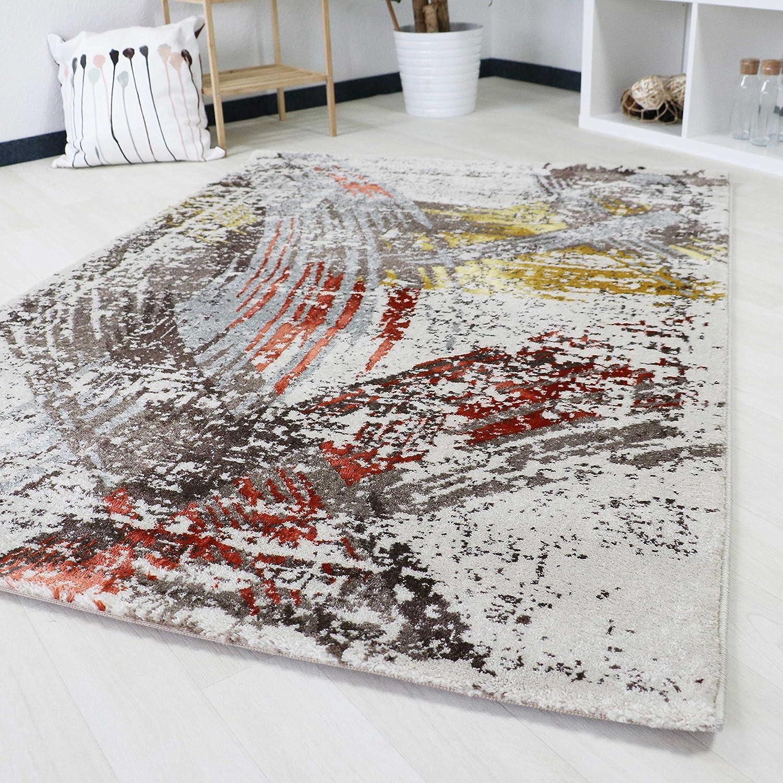 Teppich Modern Abstrakt in Bunt küntlerisches Design Kurzflor Teppich für Wohnzimmer und Jugendzimmer mit Öko-Tex schadstofffrei