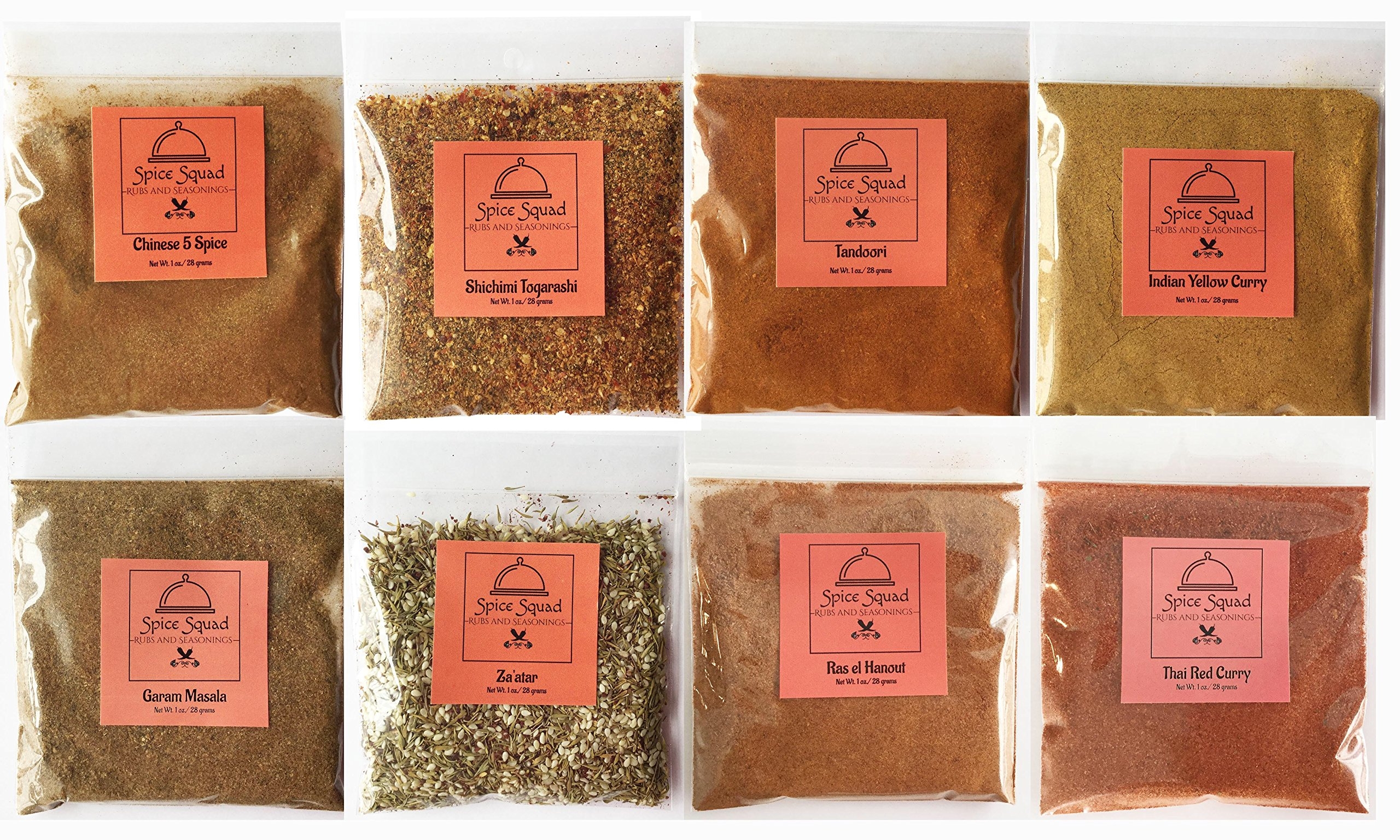 Spice Squad ~ International 8 Variety Sampler Gift Set | Thai Red Curry, Ras el Hanout, Indian Yellow Curry, Za'atar, Shichimi Togarashi, Chinese 5 Spice & Garam Masala by Spice Squad (Image #1)