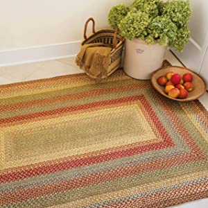 Azalea Premium Jute Braided Area Rug by Homespice, 4' x 6' Rectangular Red - Tan - Beige - Blue, Reversible, Natural Jute Yarn Rustic, Country, Primitive, Farmhouse Style - 30 Day Risk Free Purchase