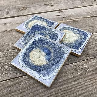 product image for Geode Crackle Coaster Set of 4 in Periwinkle, Geode Coaster, Crackle Coaster, Fused Glass Coaster, Crackle Glass Coaster, Agate Coaster, Ceramic Coaster, Dock 6 Pottery Coaster
