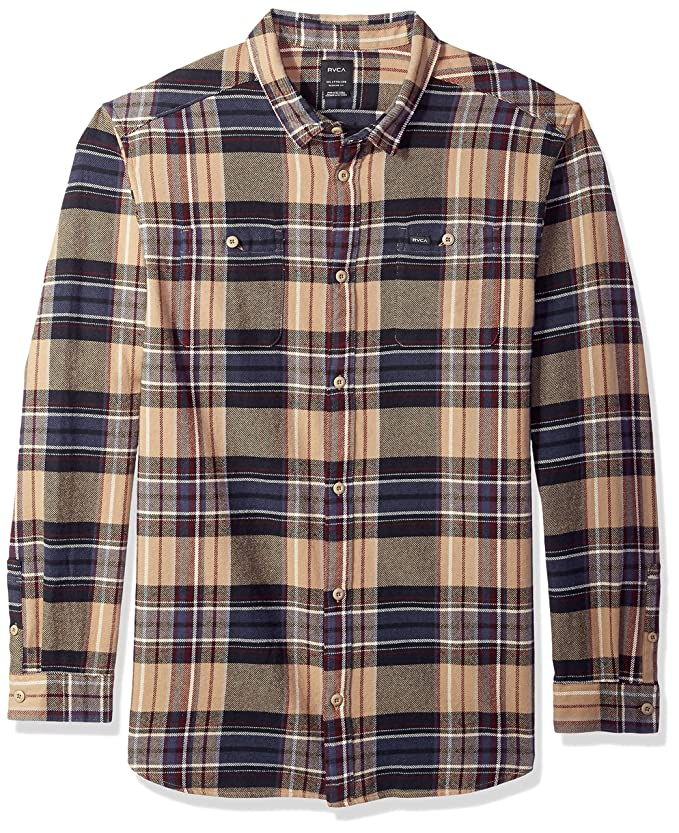 cae660ff0 Amazon.com  RVCA Men s Ludlow Flannel Long Sleeve Woven Button Up Shirt   Clothing