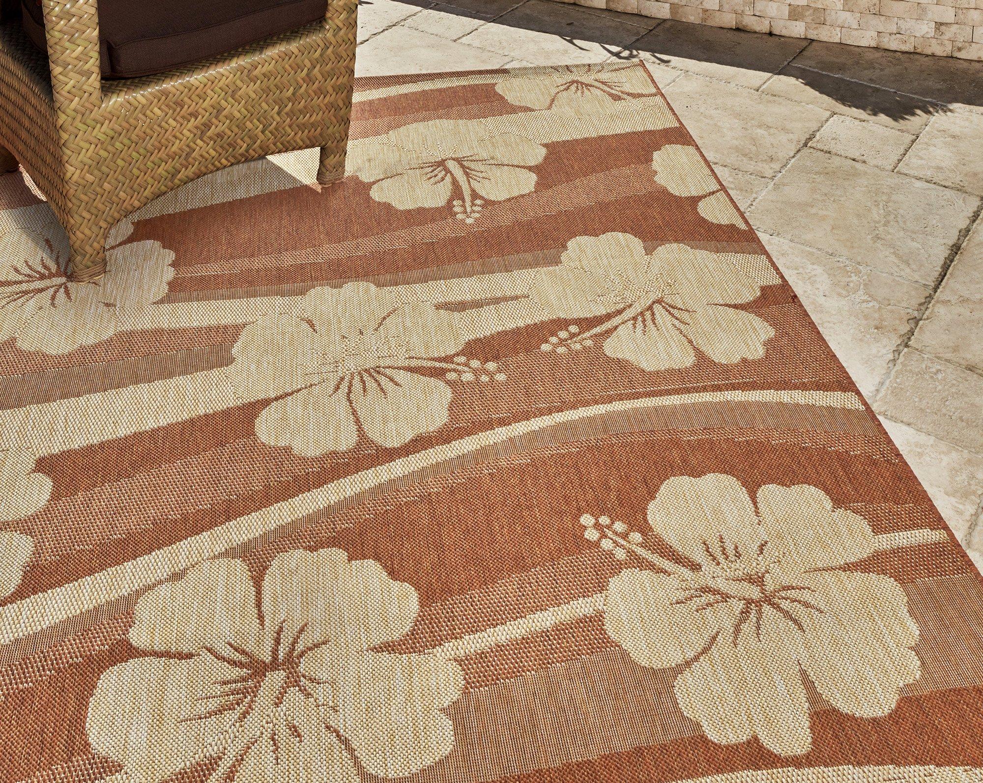 Gertmenian 21266 Nautical Tropical Rug Outdoor Patio Carpet, 5x7 Standard, Hibiscus 3-D