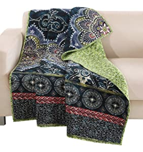 Barefoot Bungalow Accessory Twyla Midnight Quilted Throw, 12 Piece
