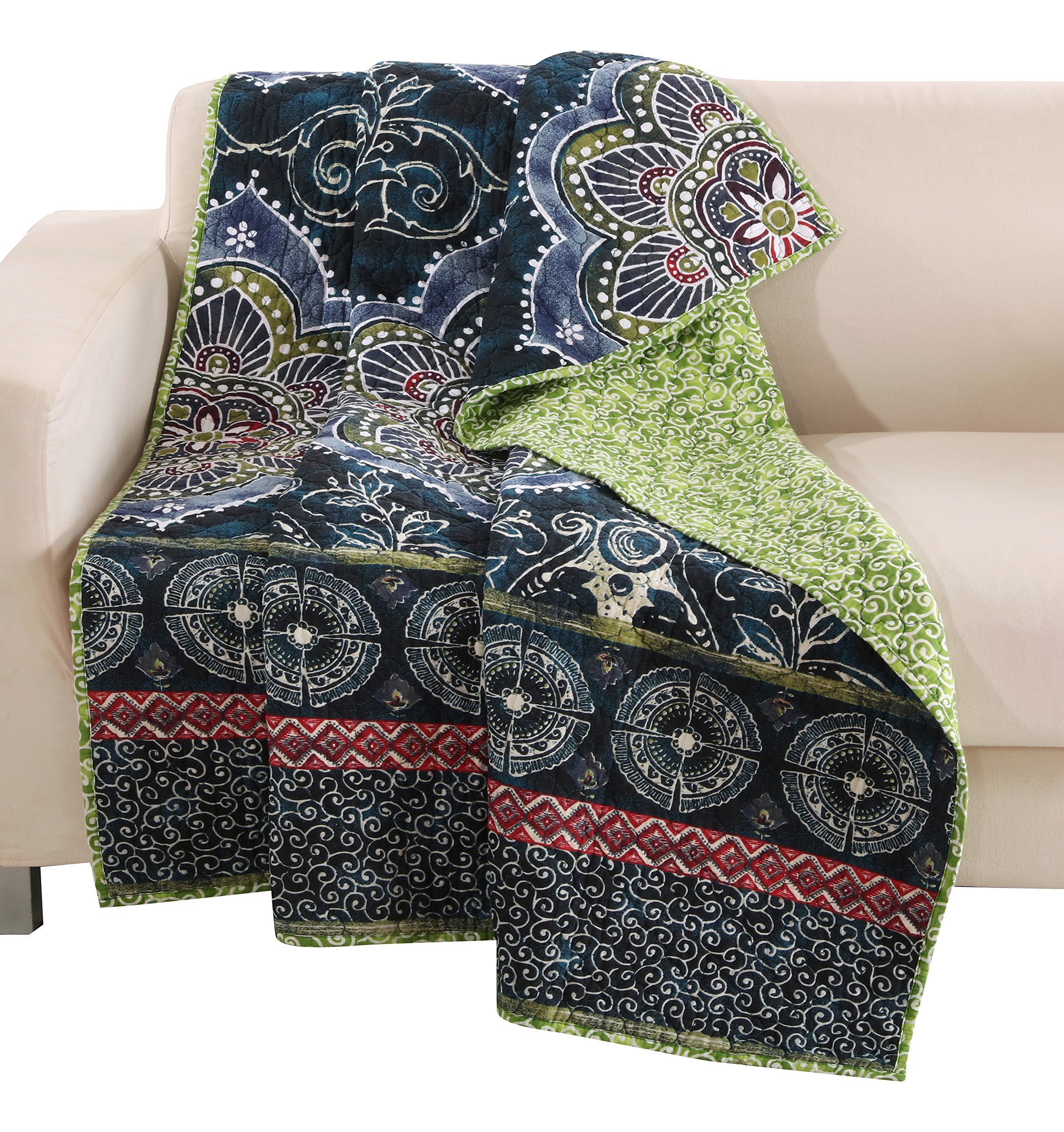 Barefoot Bungalow Twyla Midnight Quilted Throw - The perfect quilt for your couch or easy chair, also makes a great layering piece Machine quilted for durability and surface interest Reverses to a coordinate Fashion print for two looks in one - blankets-throws, bedroom-sheets-comforters, bedroom - A1ADlbxsIEL -