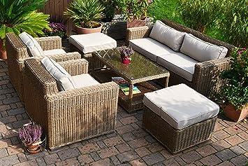 Lounge Wohnlandschaft Provence NATUR 1 Sofa 2 Sessel 1Tisch 2 Hocker Rattan  Polyrattan Geflecht Gartenmöbel Provence