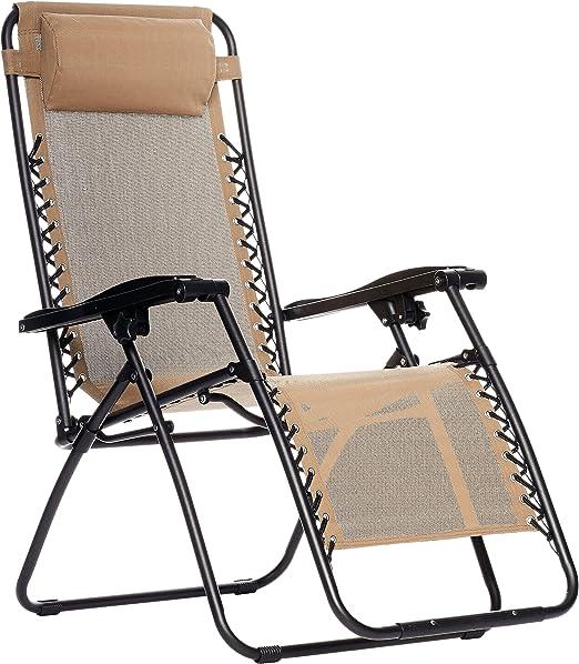 zéro camping de gravité Beige Chaise AmazonBasics pliable uJF35T1lKc