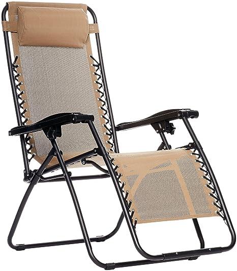 Amazon Com Amazonbasics Zero Gravity Chair Beige Garden Outdoor