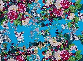 100% algodón popelín azul Mariposa lona impresa de coser ...