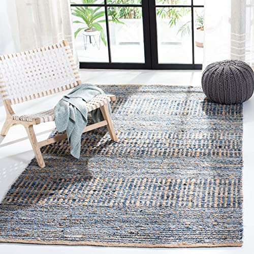 Safavieh Cape Cod Collection CAP353A Hand Woven Flatweave Natural and Blue Jute Area Rug 4 x 6