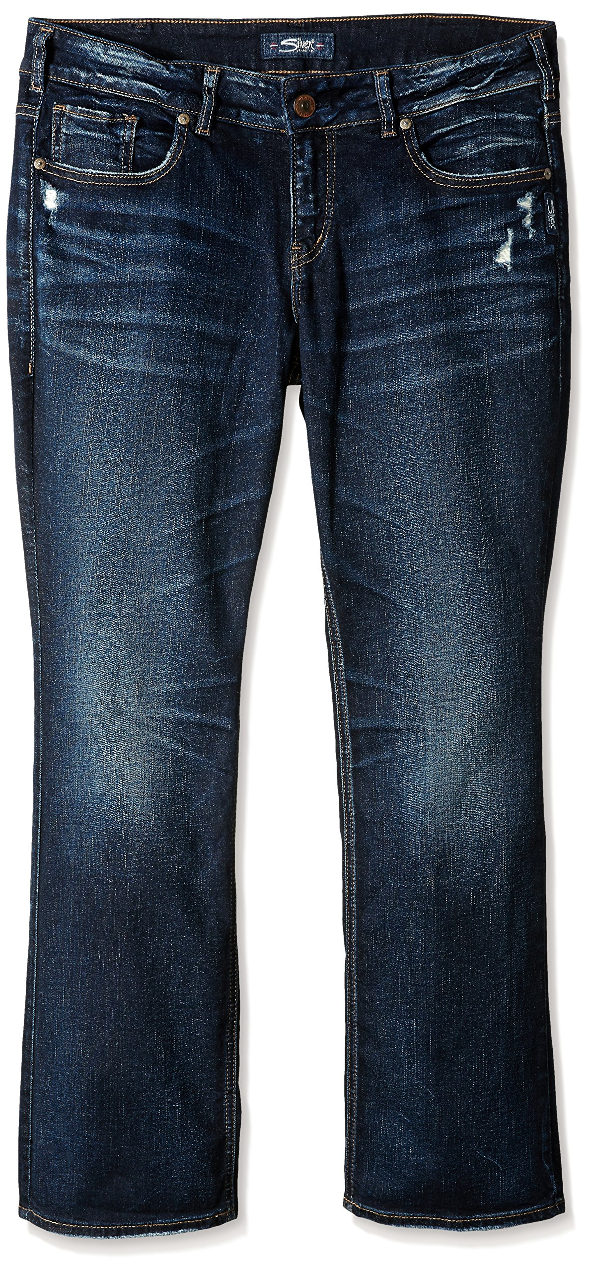 Silver Jeans Women's Plus Size Elyse Mid-Rise Slim Bootcut Jeans, Dark Hand Sand Wash, 16X33