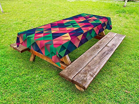 Amazoncom Lunarable Abstract Triangle Outdoor Tablecloth Colorful - Triangle picnic table