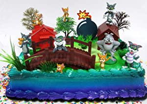 Tom and Jerry Birthday Cake Topper Set Featuring Tom and Jerry Figures and Decorative Accessories
