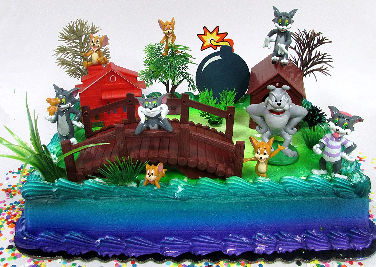 Amazon Tom And Jerry Birthday Cake Topper Set Featuring Figures Decorative Accessories Toys Games