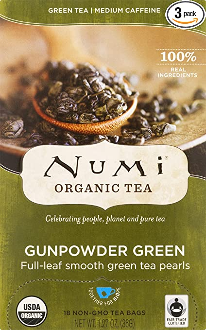 Numi Organic Tea Gunpowder Green, Full Leaf Green Tea, 18 Count non-GMO Tea Bags (Pack of 3)