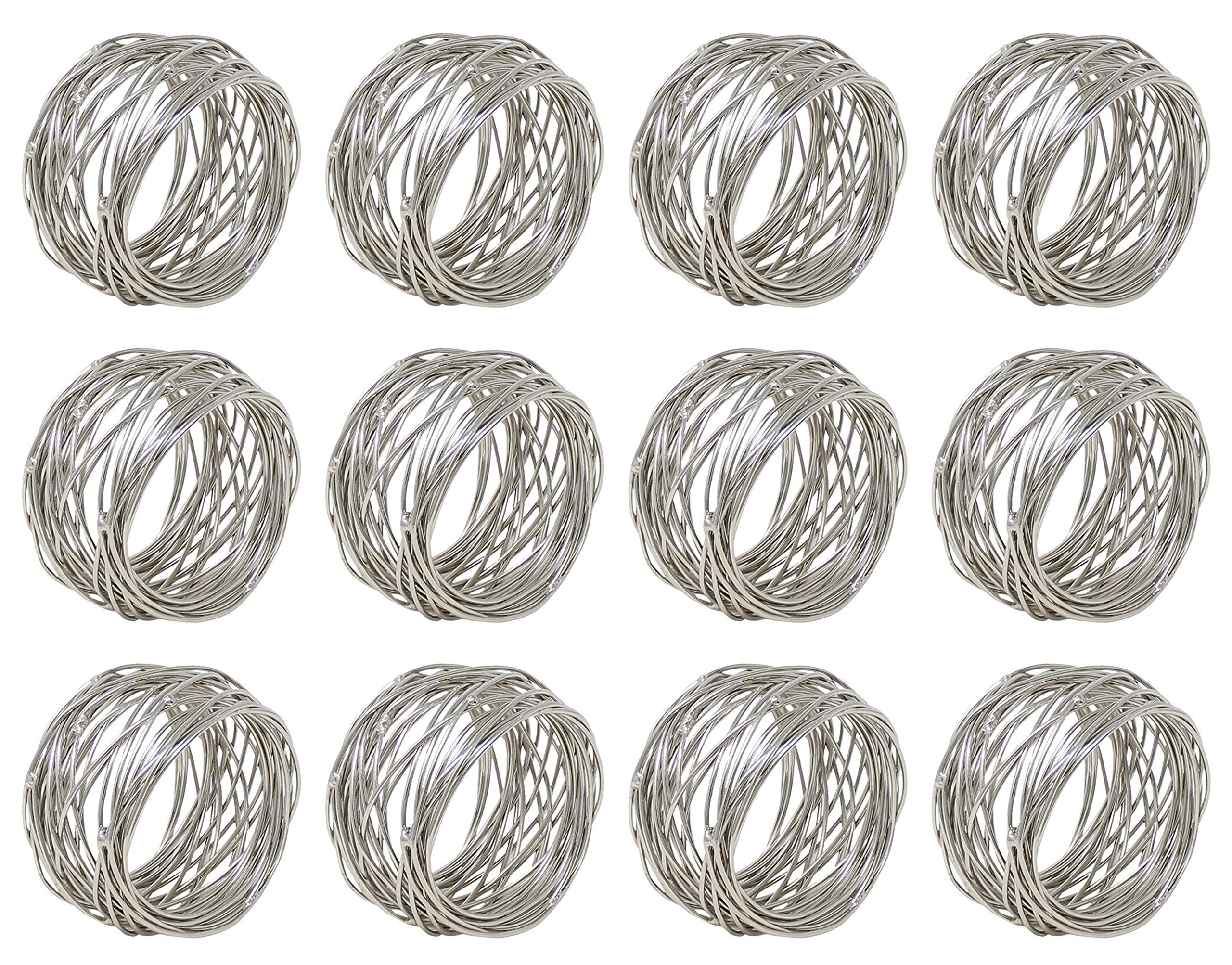 ARN Craft Silver Round Mesh Napkin Rings- Set of 12 for Weddings Dinner Parties or Every Day Use (CW- 07-12)