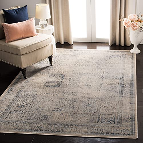 Safavieh Vintage Premium Collection VTG127-7440 Transitional Oriental Stone and Blue Distressed Silky Viscose Area Rug 8 x 11 2