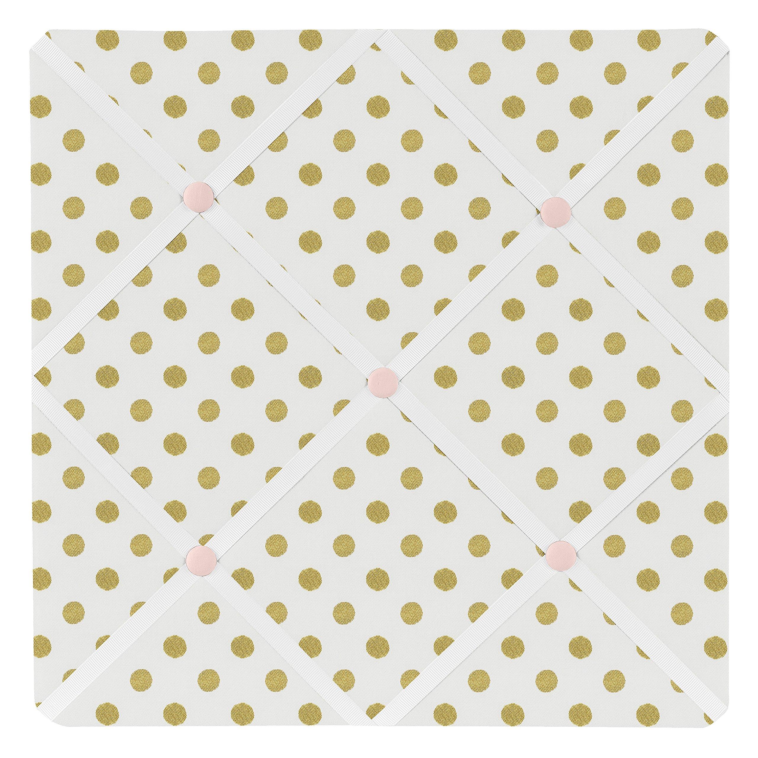 Sweet Jojo Designs Fabric Memory/Memo Photo Bulletin Board for Blush Pink White Damask and Gold Polka Dot Amelia Collection