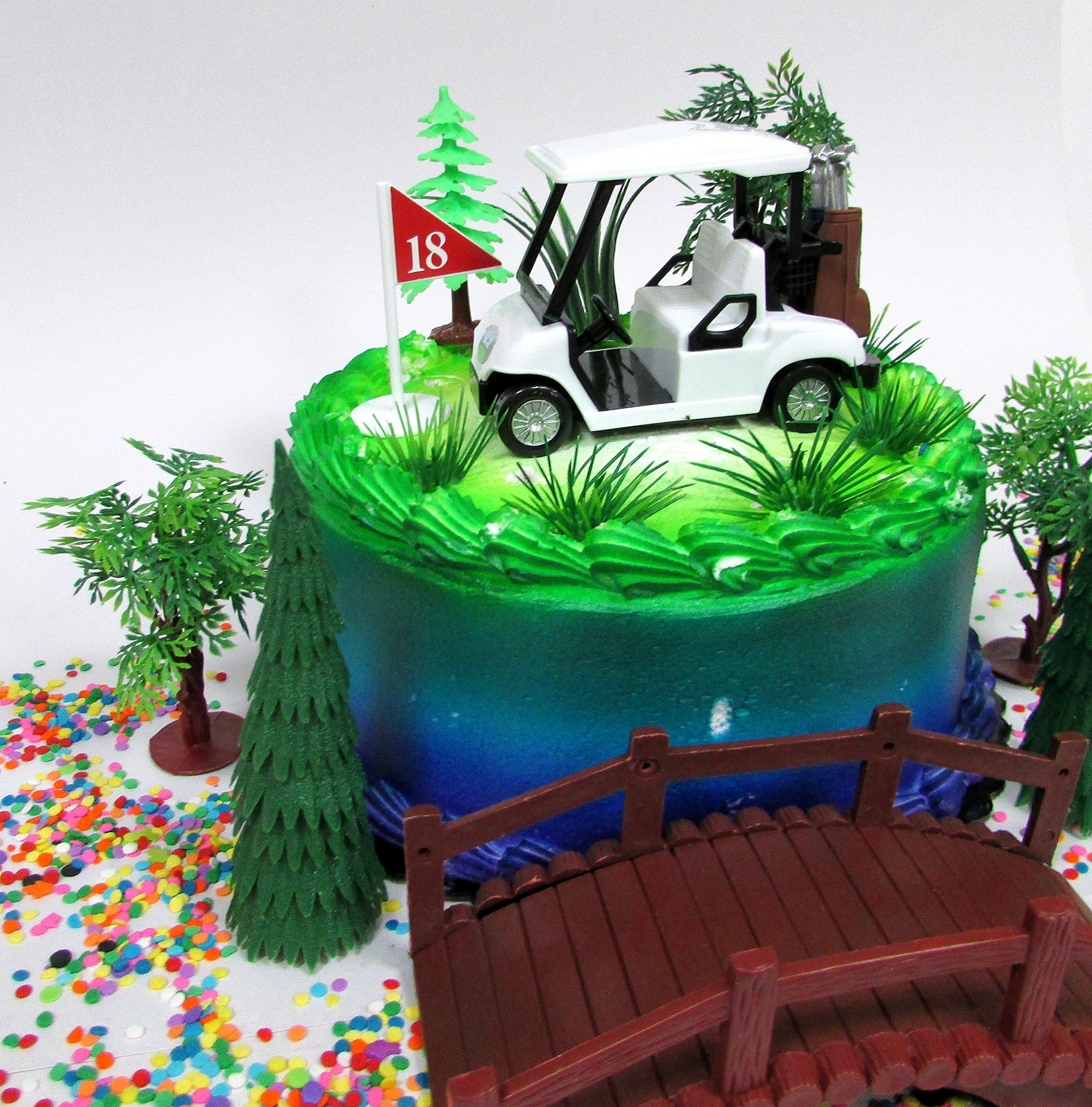 Golfing Themed 12 Piece Golfer Birthday Cake Topper Set Featuring Golf Cart And Decorative Accessories