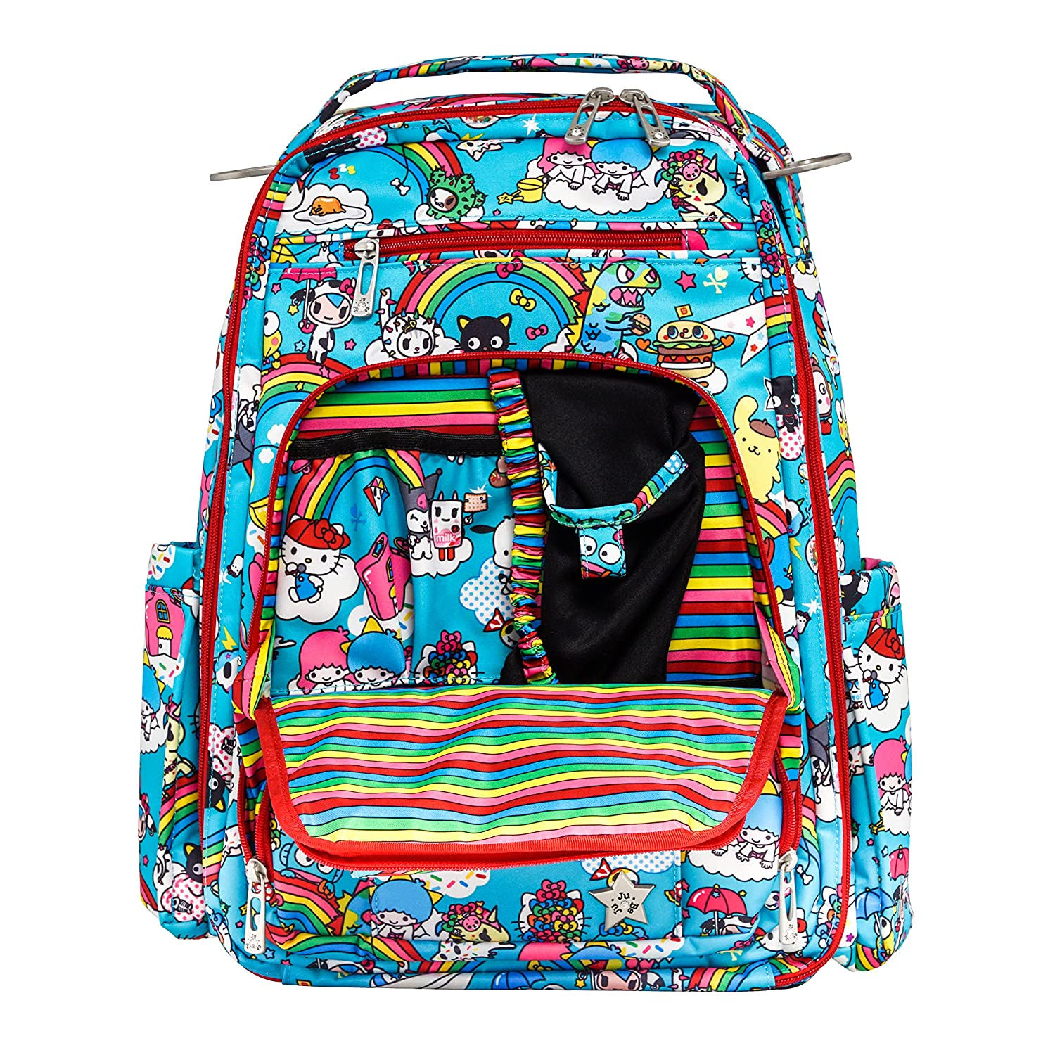 JuJuBe Be Right Back Multi-Functional Structured Backpack/Diaper Bag, Tokidoki Collection - Rainbow Dreams
