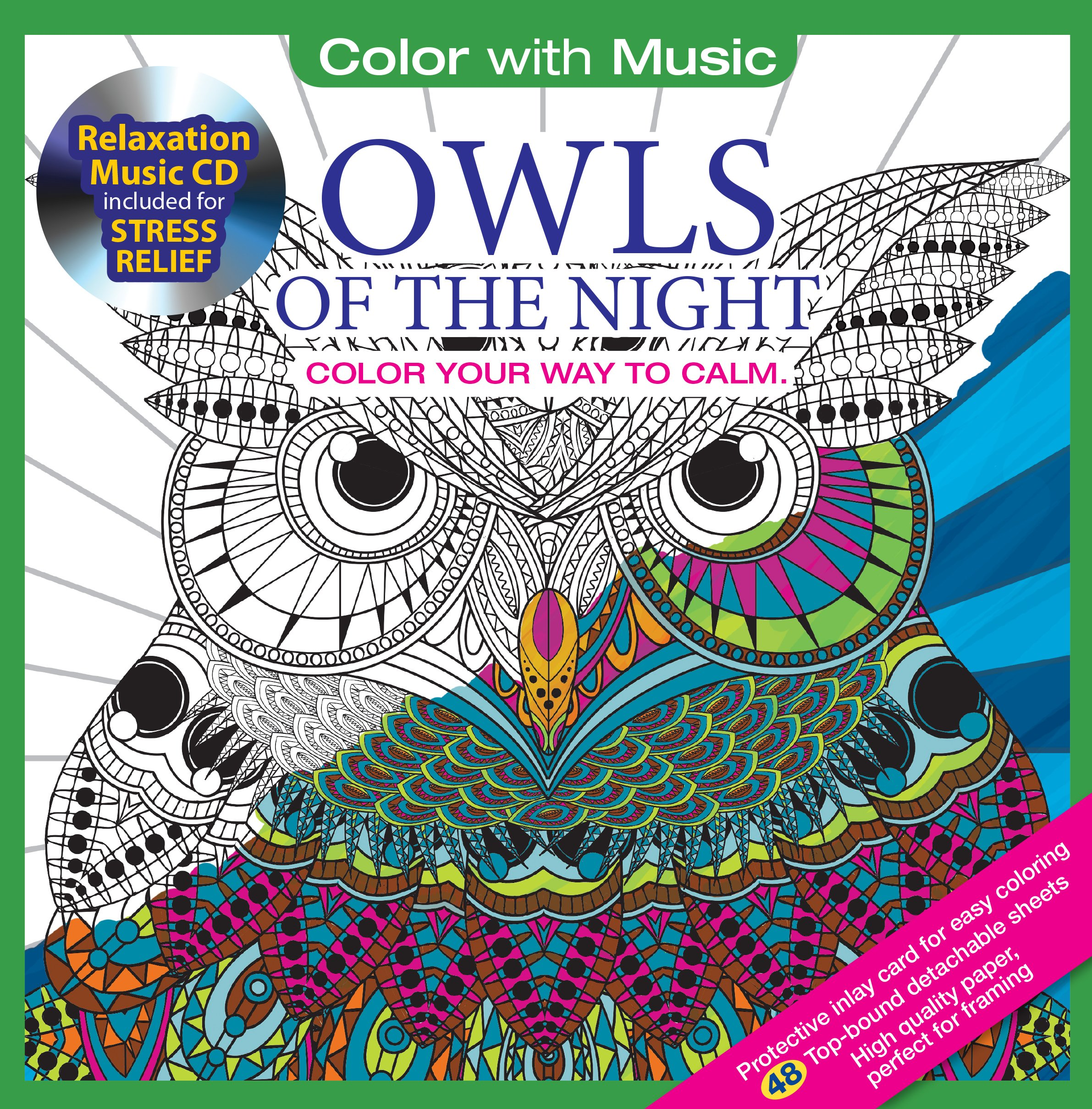 Amazon Owls Of The Night Adult Coloring Book With Bonus Relaxation Music CD Included Color 9781988137179 Newbourne Media Books