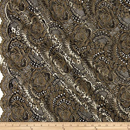 Amazon.com: TELIO Kala Lace Black/Gold Fabric By The Yard