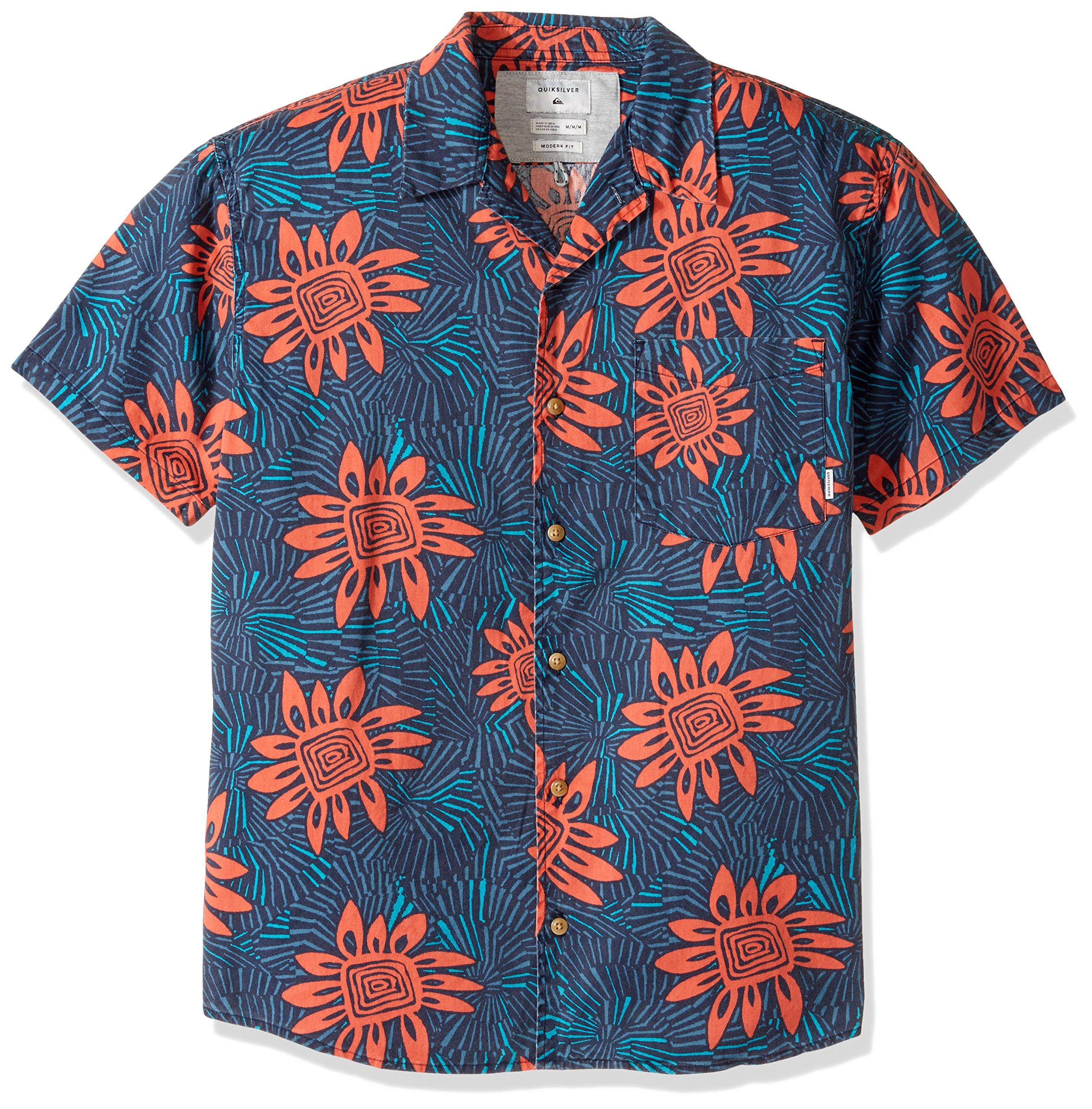 Quiksilver Men's Indian Summer Button Down Shirt, Burnt Sienna Indian Summer, Medium