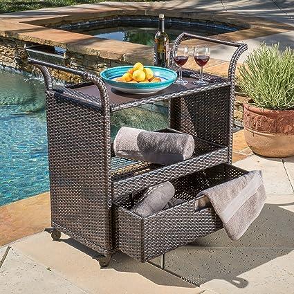 Shelton Multi Brown Wicker Bar Cart