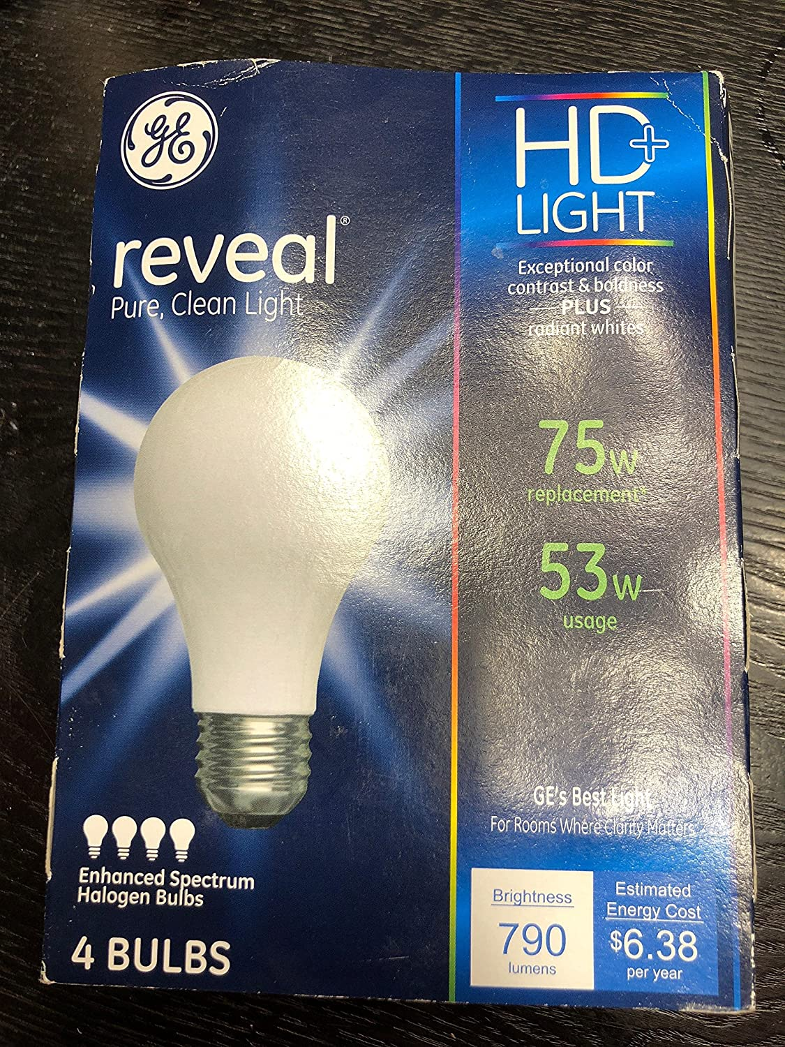 GE Soft White 53 Watt Reveal A Line Halogen Bulb 4 Pack
