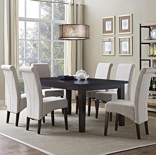Amazon.com: Simpli Home 7 Piece Avalon Dining Set, Natural Linen: Kitchen U0026  Dining