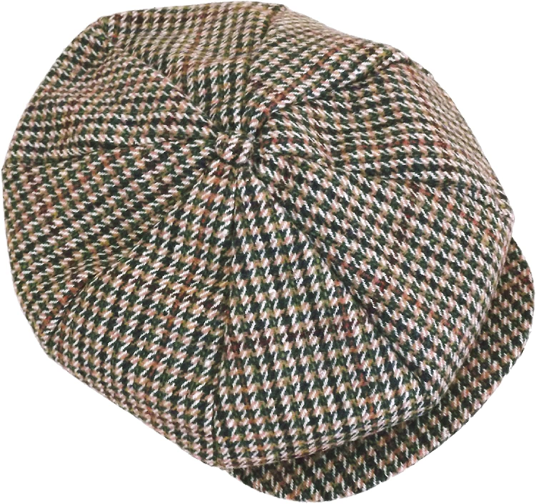 Tweed 8 Panel Flat Cap Wool Mix Baker Boy Newsboy 1920 s Gatsby Dogstooth  (60cm e32dbe96490e