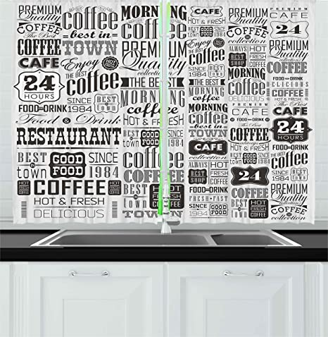 Amazon Com Ambesonne Vintage Kitchen Curtains Retro Style Texts And Typographic Coffee Shop Restaurant Window Drapes 2 Panel Set For Cafe Decor 55 X 39 Charcoal Grey Pale Home