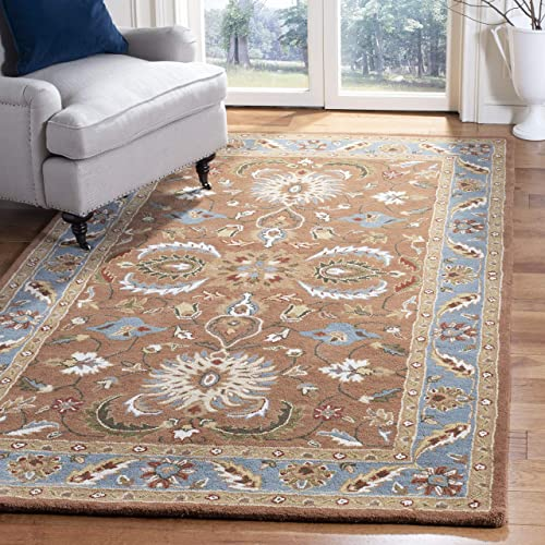 Safavieh Heritage Collection HG968A Handcrafted Traditional Oriental Brown and Blue Wool Area Rug 8 3 x 11