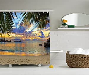 Ambesonne Seaside Decor Collection, Sunset at Beach Rumbling Ocean Luxurious Resort with Palm Trees Travel Locations Picture, Polyester Fabric Bathroom Shower Curtain, 84 Inches Extra Long, Ivory