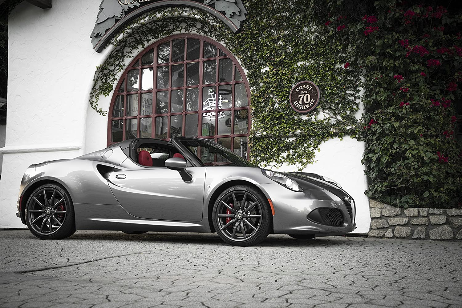 """Alfa Romeo 4C Spider (2016) Car Print on 10 Mil Archival Satin Paper Silver Front Side Static View 16""""x20"""""""