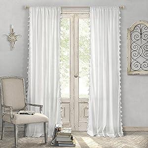 "Elrene Home Fashions Bianca Semi-Sheer Rod Pocket Window Curtain Panel with Tassels, 52"" x 84"" (1, White"