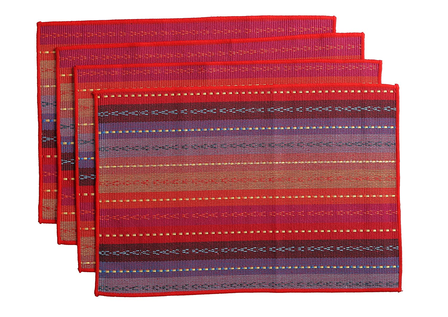 WOOD MEETS COLOR Cotton Table Placemats Woven Braided Ribbed Washable Table Mats Set of 4, 12