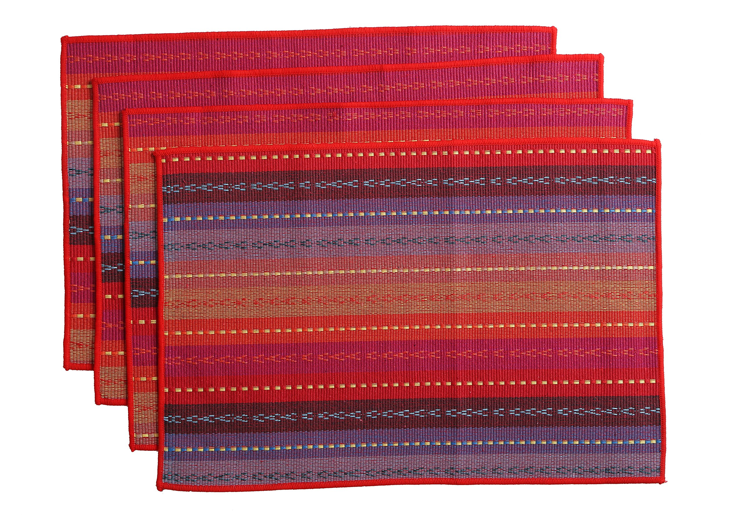 WOOD MEETS COLOR Cotton Table Placemats Woven Braided Ribbed Washable Table Mats Set of 4, 12'' x 18'' (Red)
