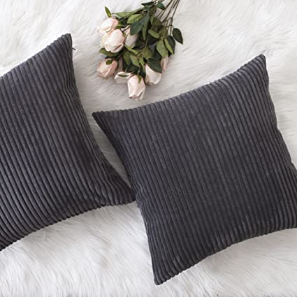 Home Brilliant Decor Pillow Covers Soft Decorative Striped Corduroy Velvet Square Throw Pillow Sofa Cushion Covers Set Couch, 2 Pack, 18x18 inch ...