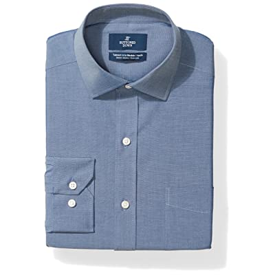 Brand - BUTTONED DOWN Men's Tailored Fit Stretch Poplin Dress Shirt, Supima Cotton Non-Iron, Spread-Collar: Clothing