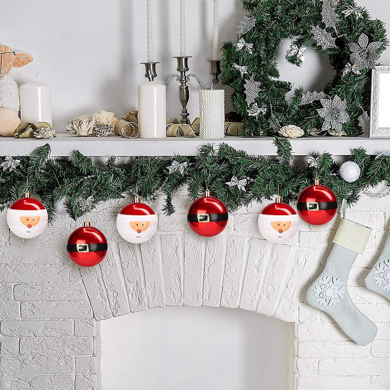 12pz - Palle di Natale Rosse Scintillanti da 8 cm con Cordino Palline Natale da Appendere per Albero di Natale Palline Albero di Natale Interno e Esterno Belle Vous Palline Di Natale Decorazioni