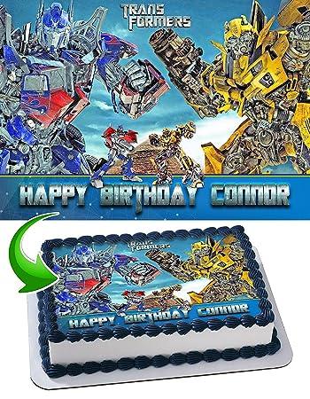 Transformers Optimus Prime Bumblebee Edible Cake Topper Personalized Birthday 1 4 Sheet Decoration Custom