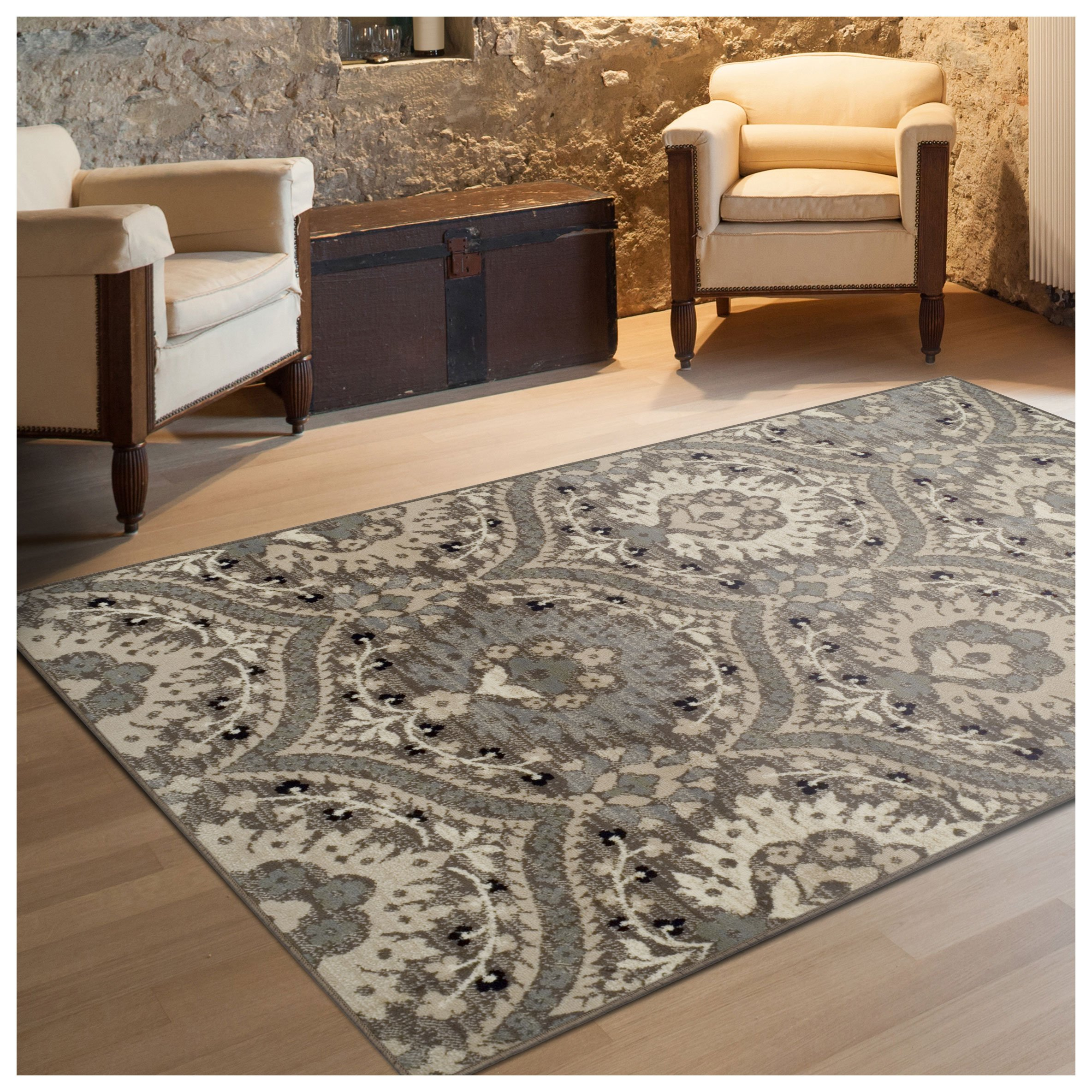 Superior Designer Augusta Collection Area Rug, 8mm Pile Height with Jute Backing, Beautiful Floral Scalloped Pattern, Anti-Static, Water-Repellent Rugs - Light Blue, 8' x 10' Rug