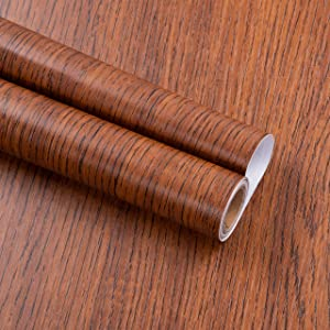 practicalWs 17.71''×118'' Wood Wallpaper Self-Adhesive Peel and Stick Wall Paper Removable Decorative Wooded Wall Coverings for Furniture Renovation