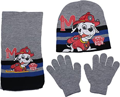 Paw Patrol Boys and Girls Designs Winter Hat Gloves and Scarf 3 Peice Set  By BestTrend (Marshal Grey)  Amazon.co.uk  Clothing f130fa30a34